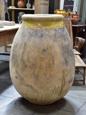 Very large 18th century French biot jar with yellow glaze – 37""