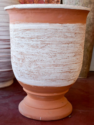 Anduze vase with modern white straw stripe 1