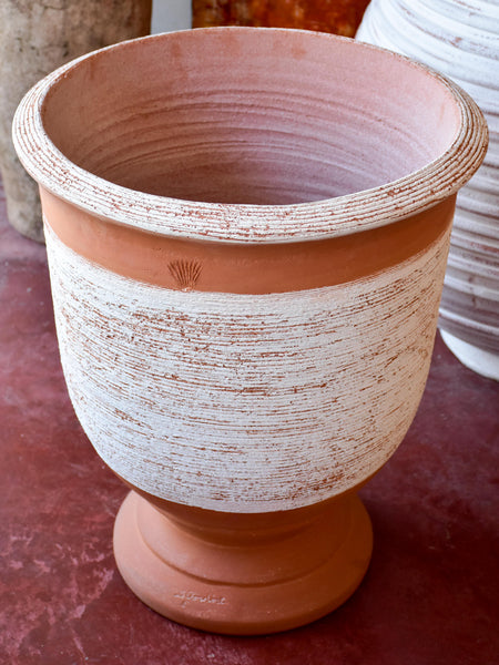 Terracotta Anduze vase with white straw band