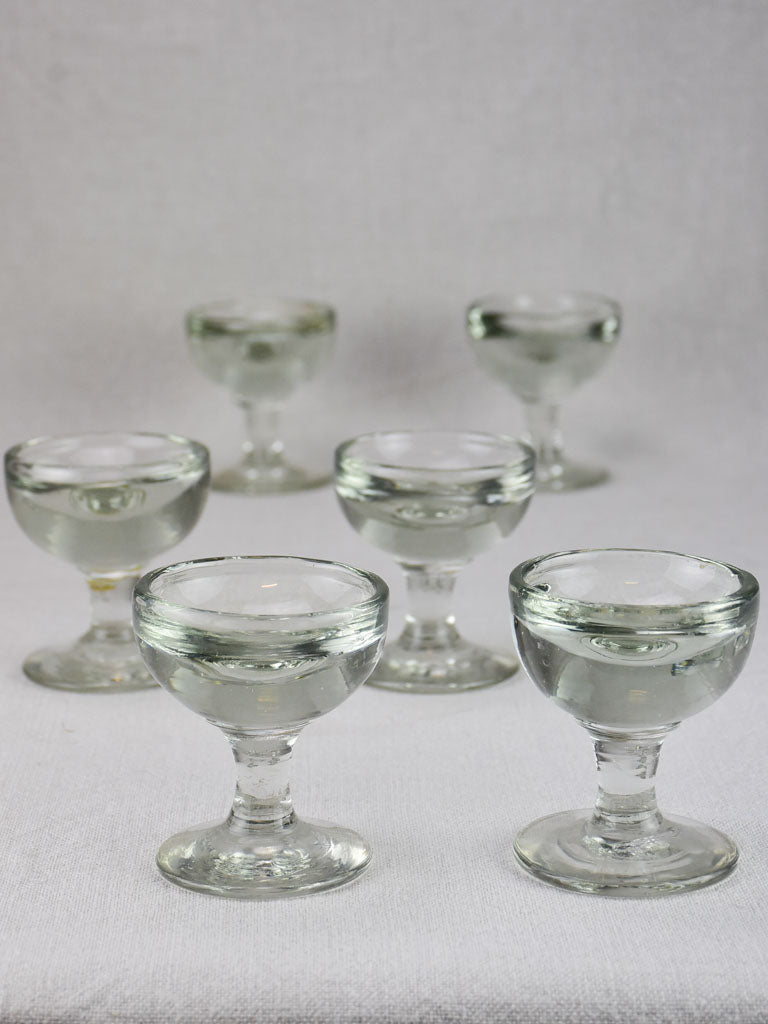 Set of six blown glass liqueur glasses from the early 20th century 3½""