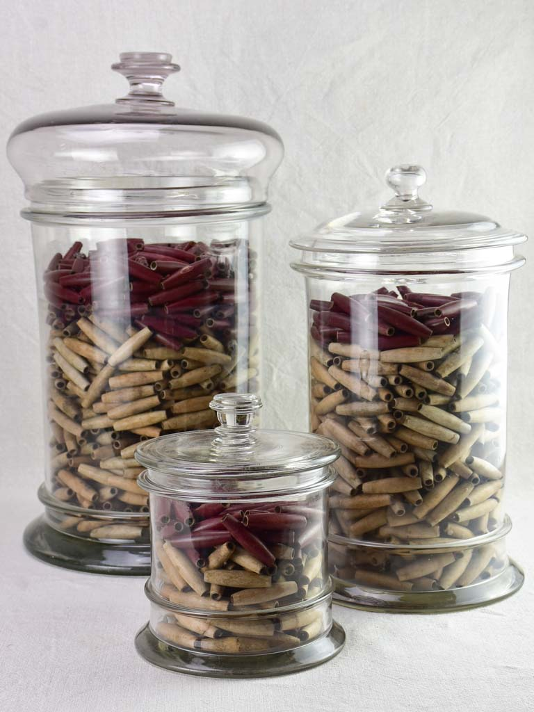 TWO late 19th / early 20th century pharmacy / shop jars with lids 19¾""