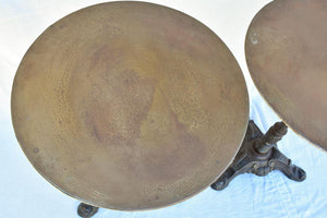 Pair of antique French garden tables with cast iron base