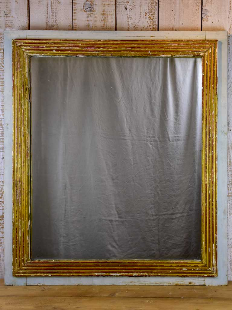 "Large rustic Louis XVI mirror with reeded frame and blue gray border 44½"" x 39½"""