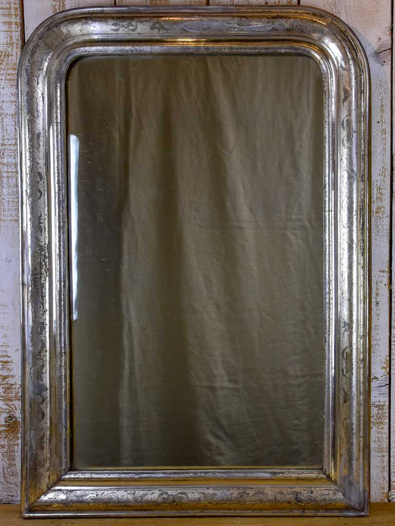 "19th Century Louis Philippe mirror with silver leaf frame 29¼"" x 42½"""