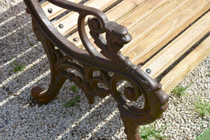 French garden bench with antique cast iron legs