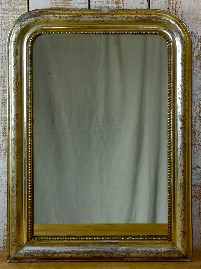 "Silver / gold leaf Louis Philippe mirror with pearl detail - 19th Century 23¾"" x 31½"""