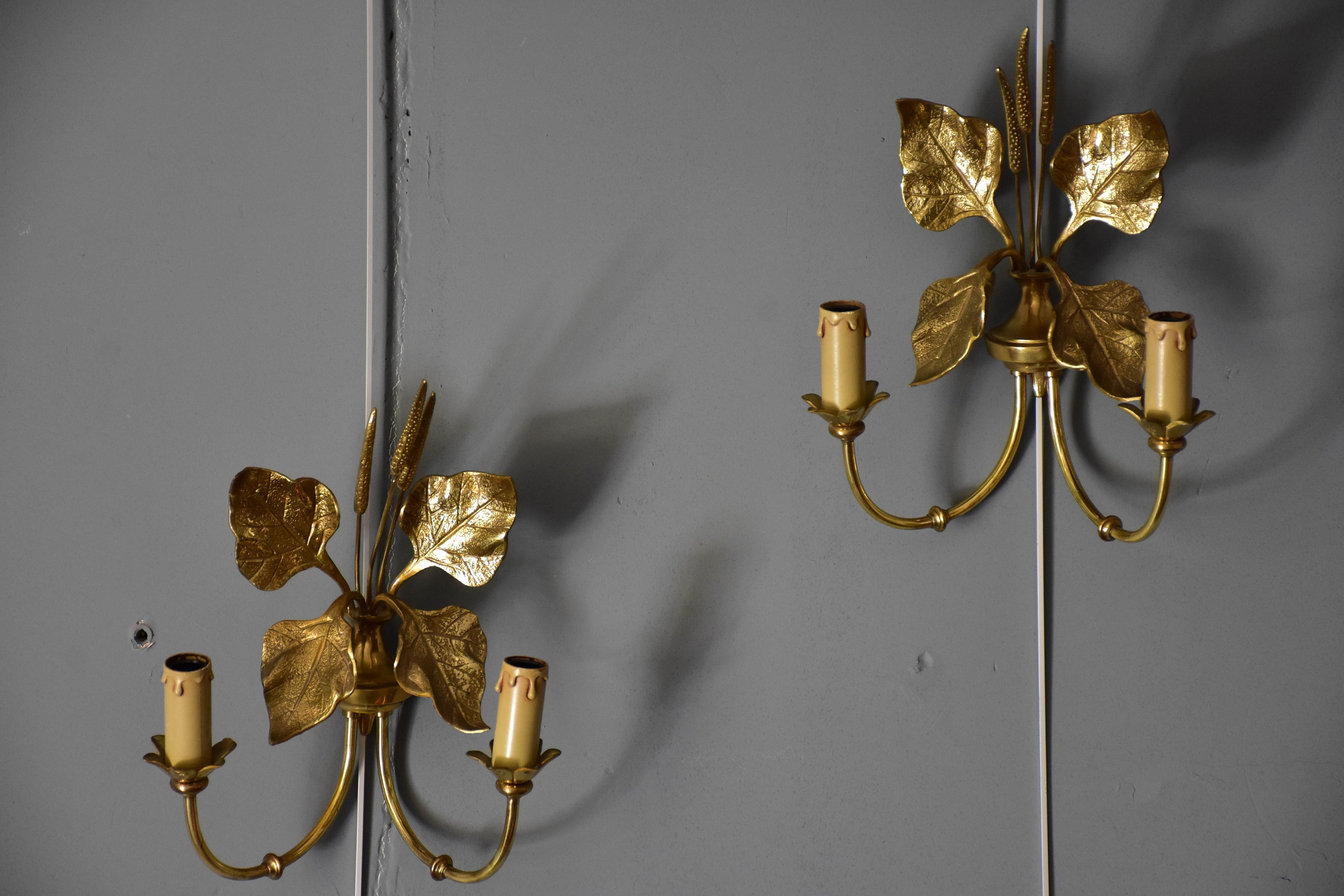 Pair of vintage French appliques attributed to Maison Charles