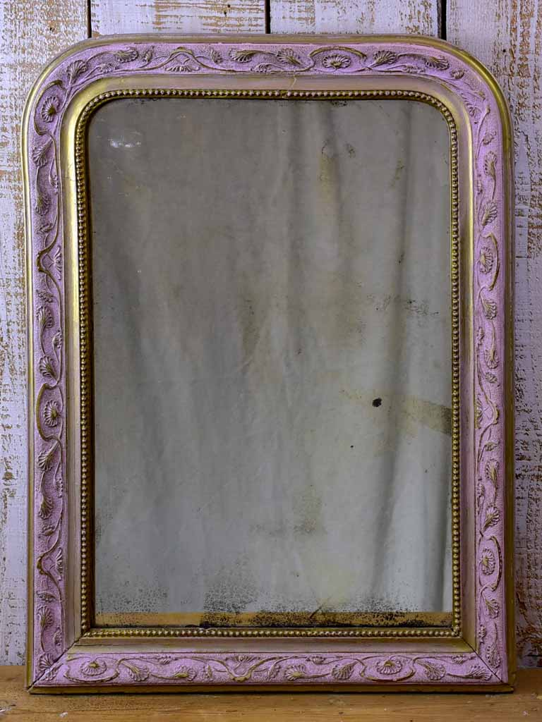"Louis Philippe mirror with pink frame - 19th Century 21¼"" x 28¼"""