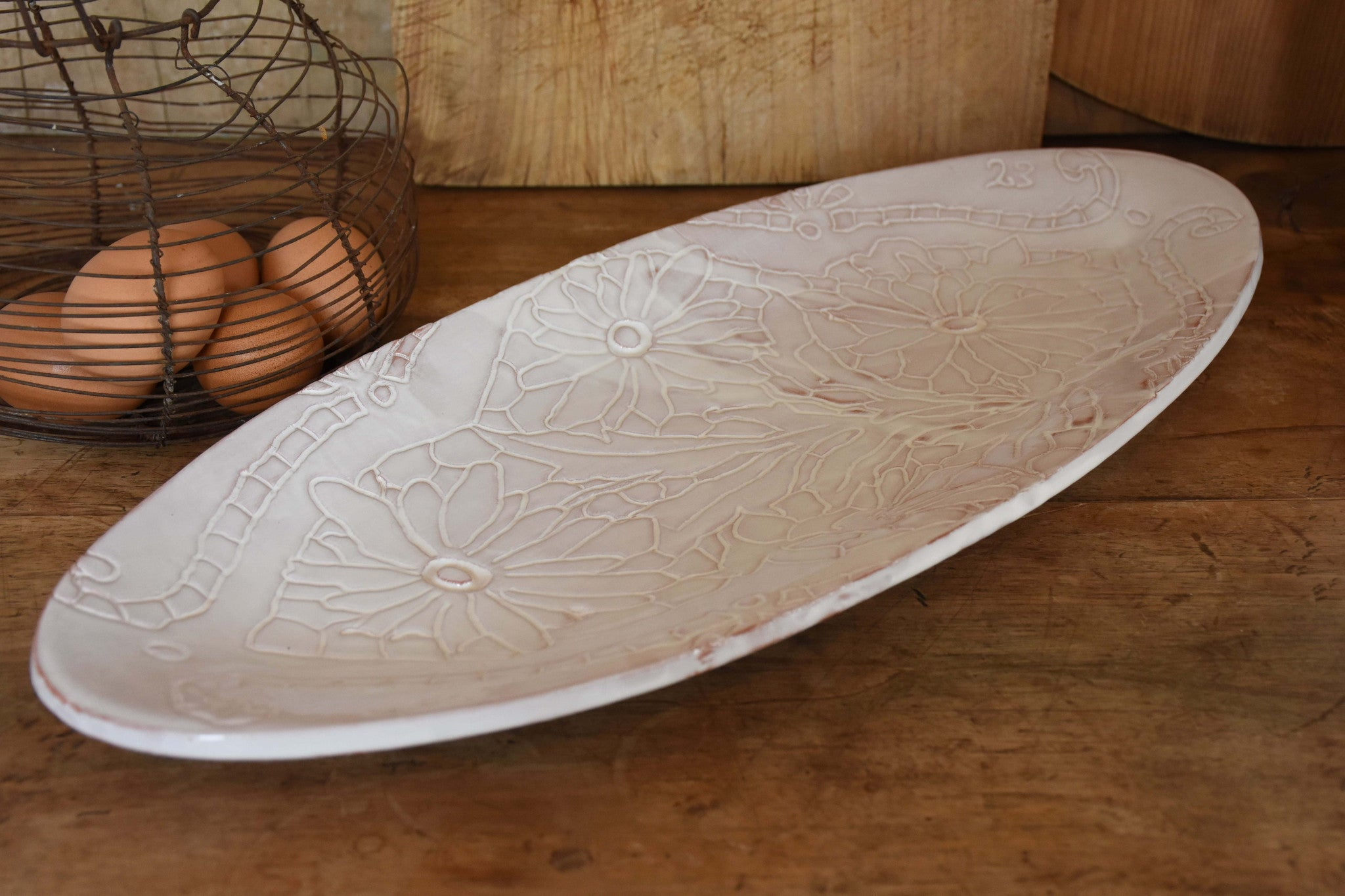 Long oval platter with flower pattern