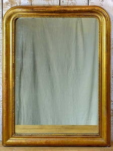 "19th Century French Louis Philippe mirror with gilded frame and running pearl 28¼"" x 37½"""