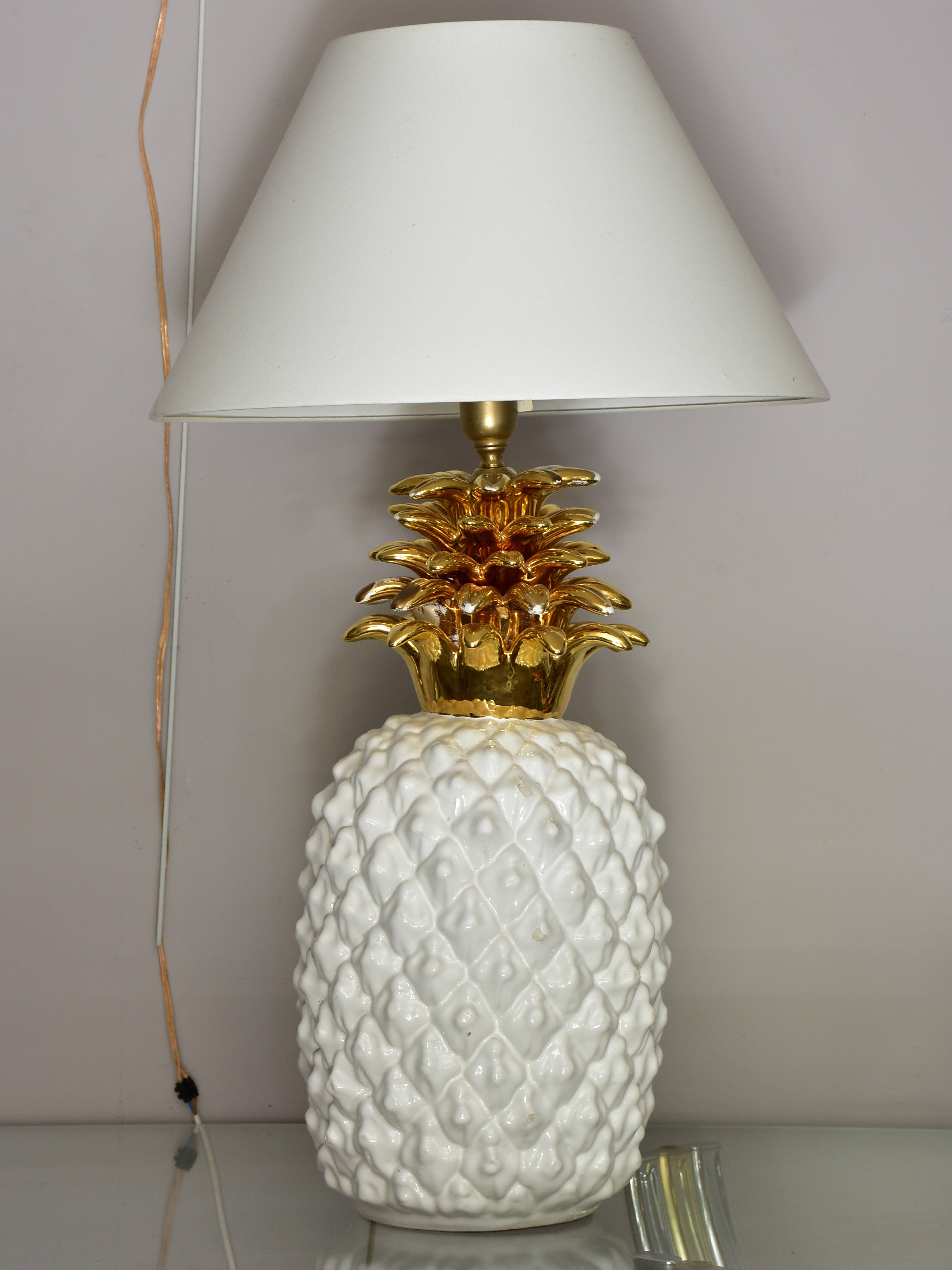 Large vintage pineapple lamp in the style of Maison Charles