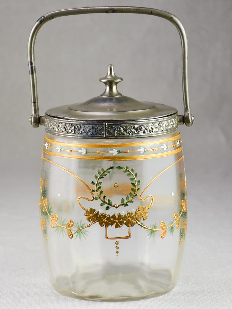 Mid century French biscuit jar with handpainted decoration