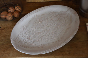Large oval platter with flowers and lace imprints