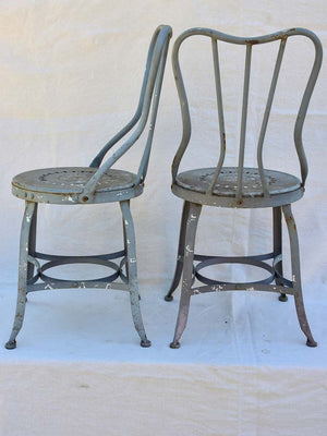 Four vintage French garden chairs - teal blue