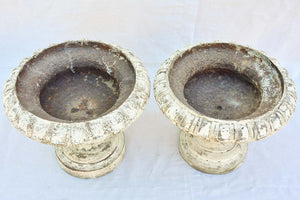 Pair of cast iron Medici urns with beige patina 14¼""