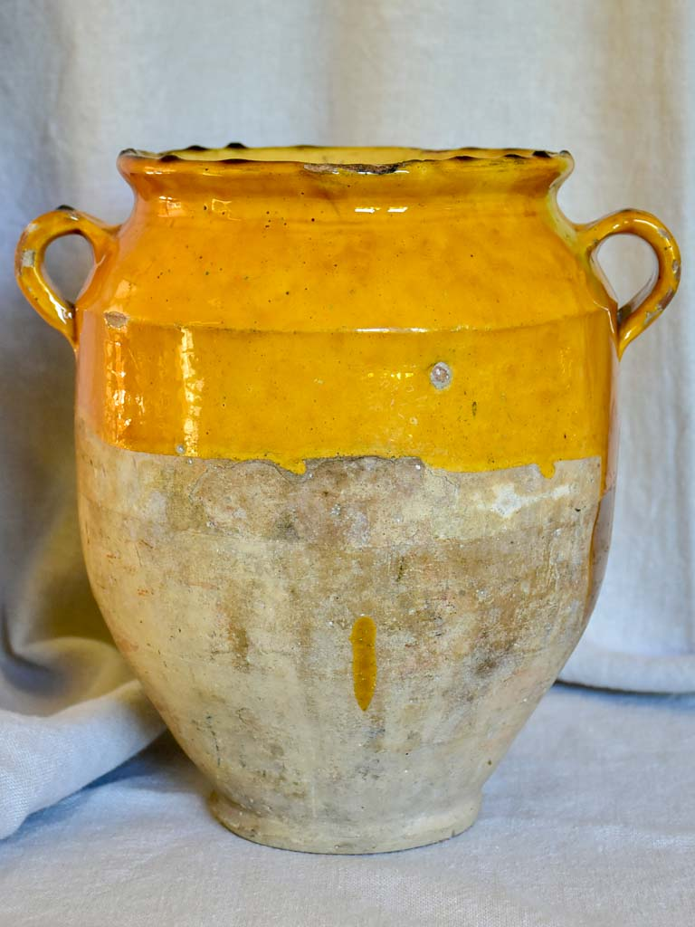 Large antique French confit pot with ocher glaze 11½""