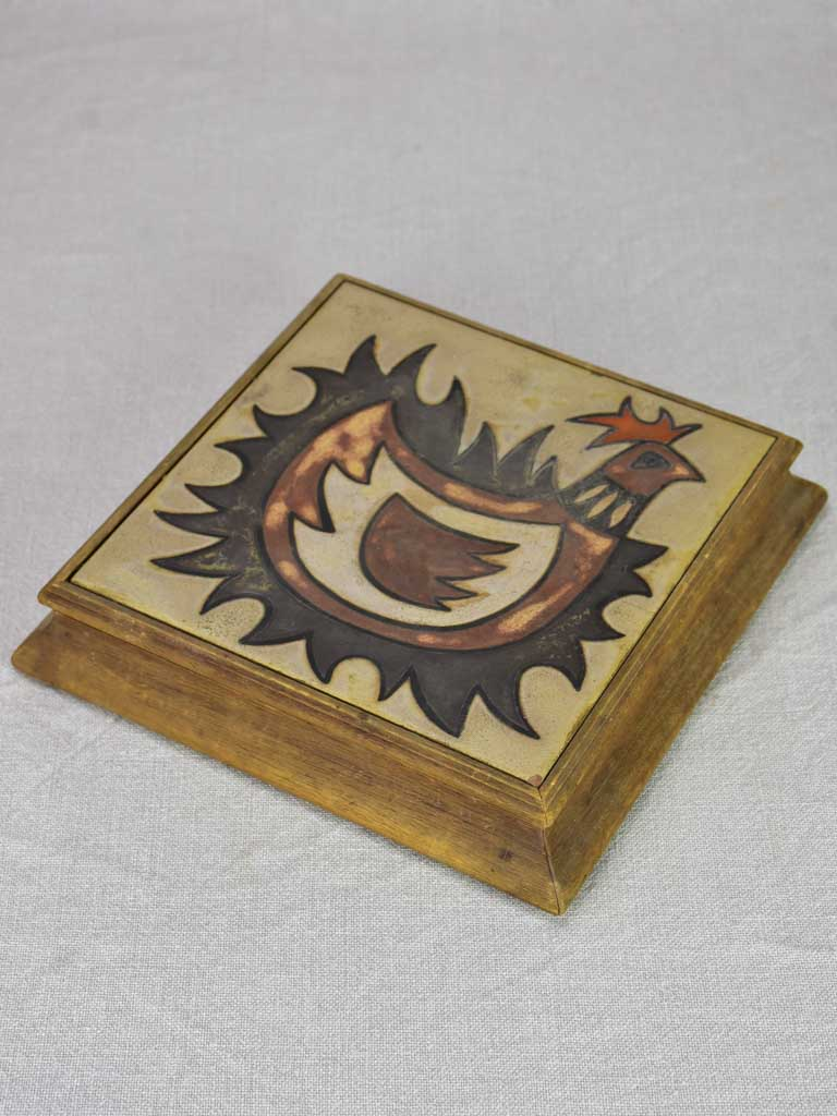 Mid century French rooster trivet with wooden frame - 1950's 9½""