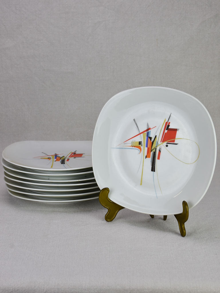 Set of 8 rectangular porcelain Limoges plates - 1950's