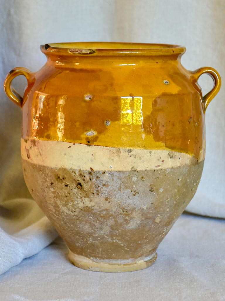 Antique French confit pot with ocher glaze 10¼""