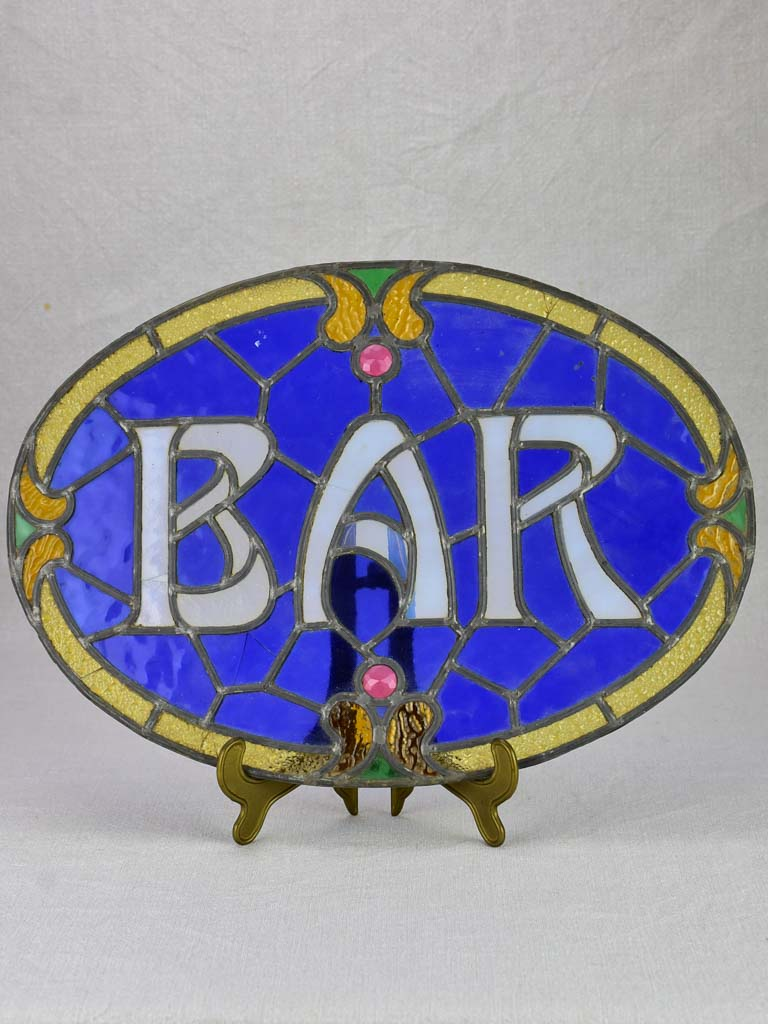 "Rare Art Nouveau Bar sign - blue lead light glass 17¼"" x 12¼"""