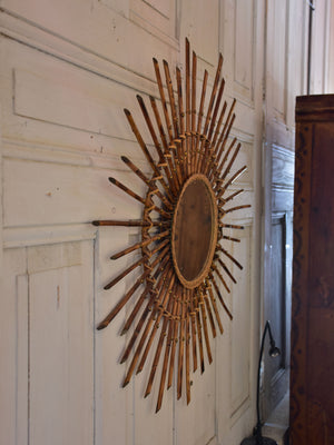Vintage French sunburst mirror - cane