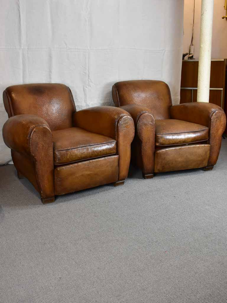 Pair of very large 1950's French leather club chairs