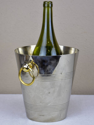 Vintage French ice bucket with gold handles
