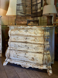 Antique Dutch commode with white patina