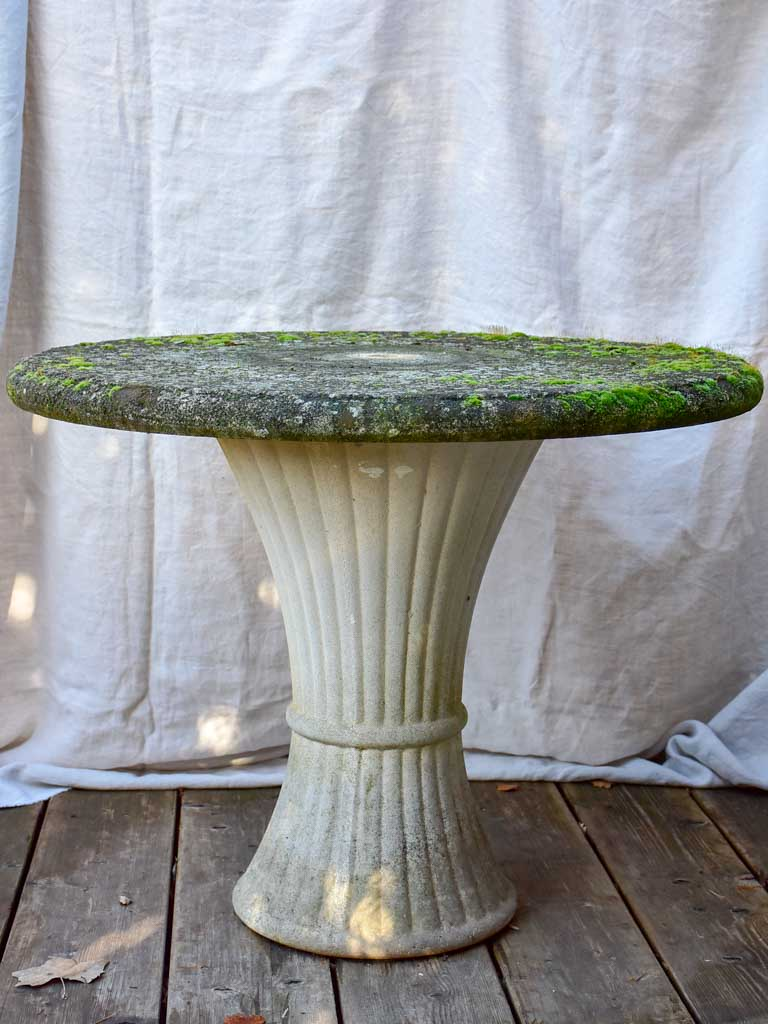 Mid century garden table with fluted base  - reconsituted stone