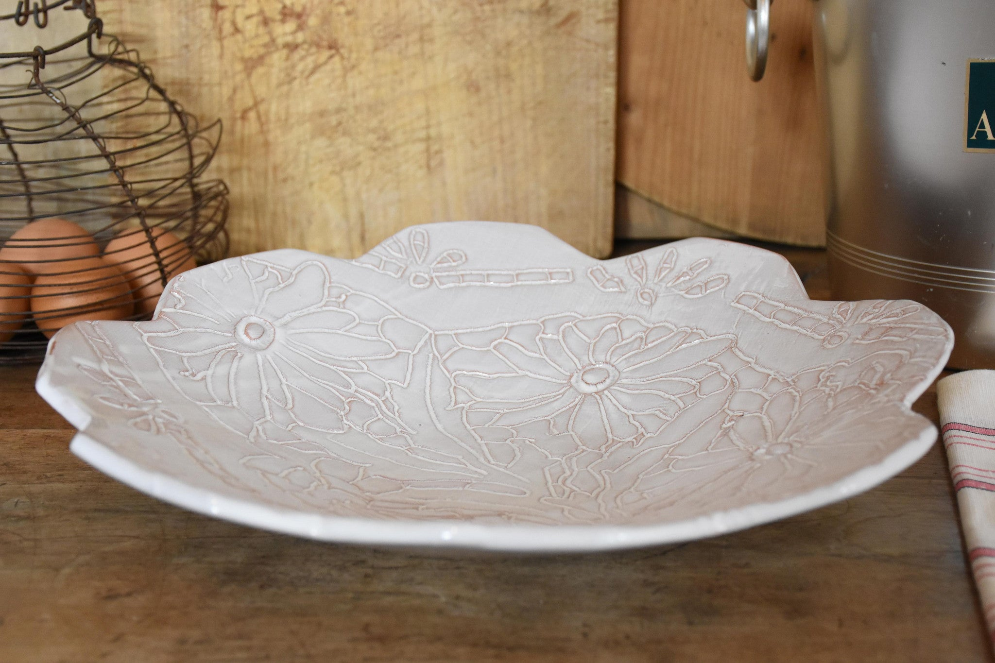 Fruit bowl with flowers and petal edges