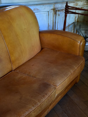 Mid century French leather sofa