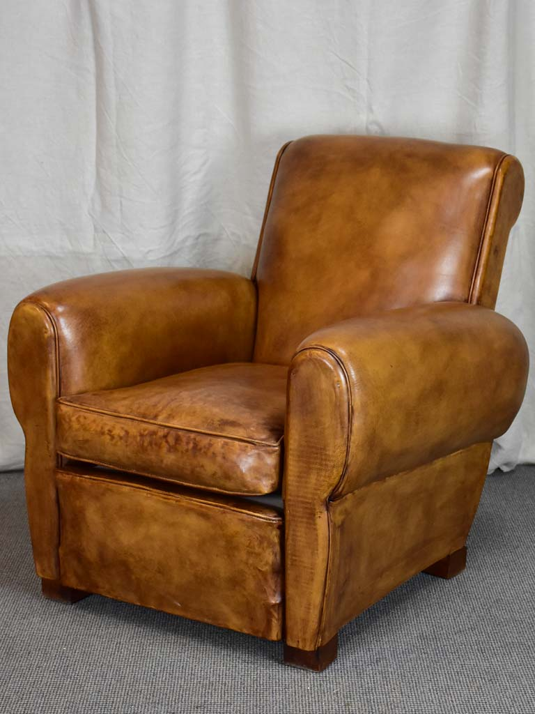 1960's French leather club chair