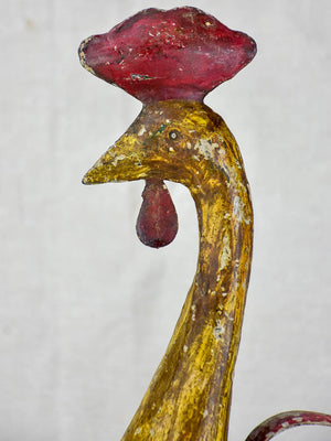 Artisan made sculpture of a rooster - red and gold 20""