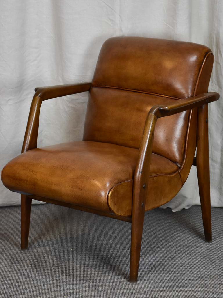 French mid century leather armchair