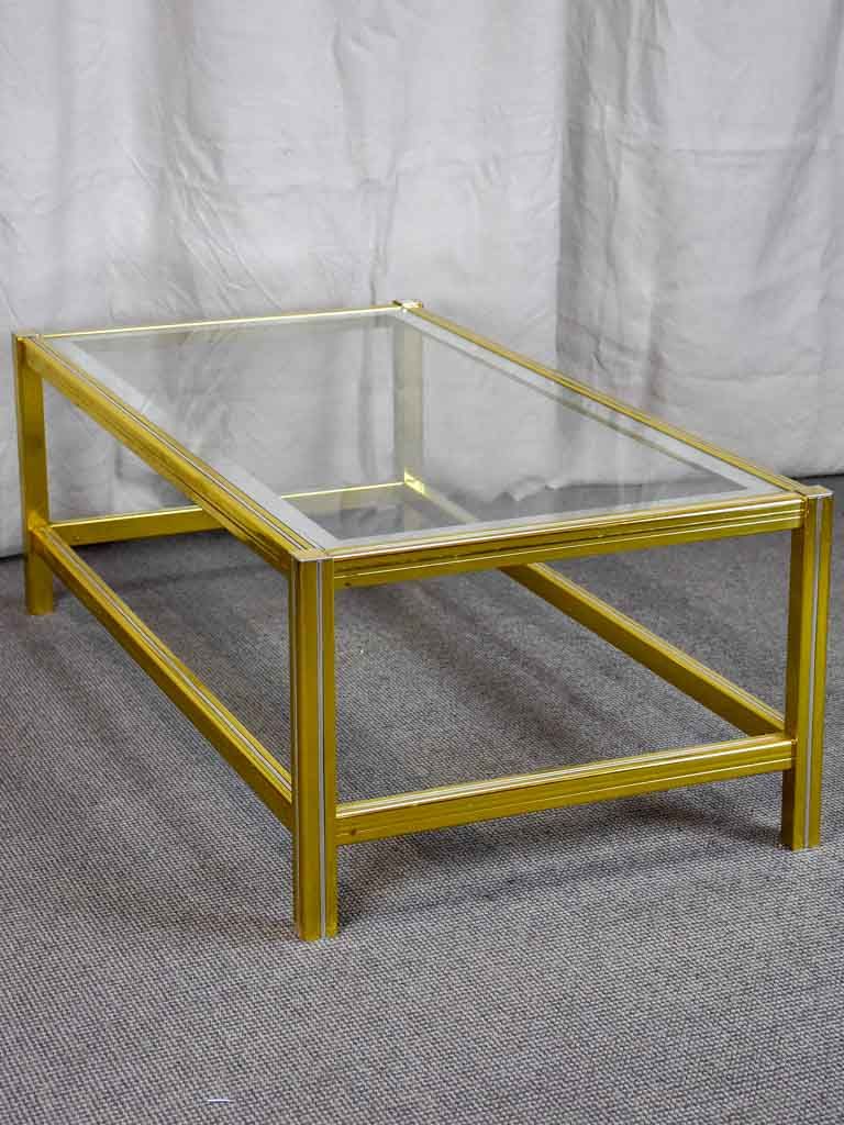 Vintage glass coffee table - style of  Pierre Vandel