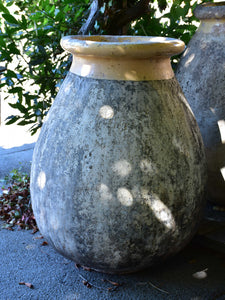 Large 19th century French biot jar with creamy / apricot colour glaze