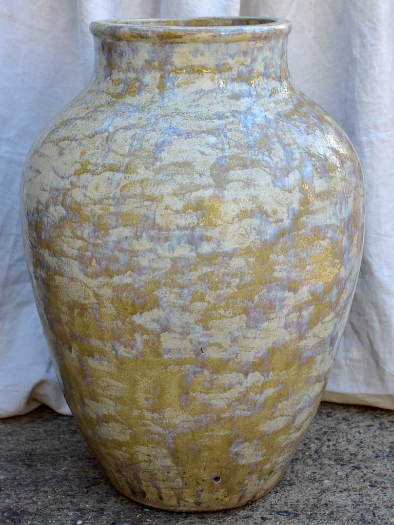 Large mid century terracotta pot with blue / brown / beige glaze 29¼""
