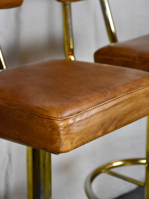 Pair of mid century French leather bar stools from a casino