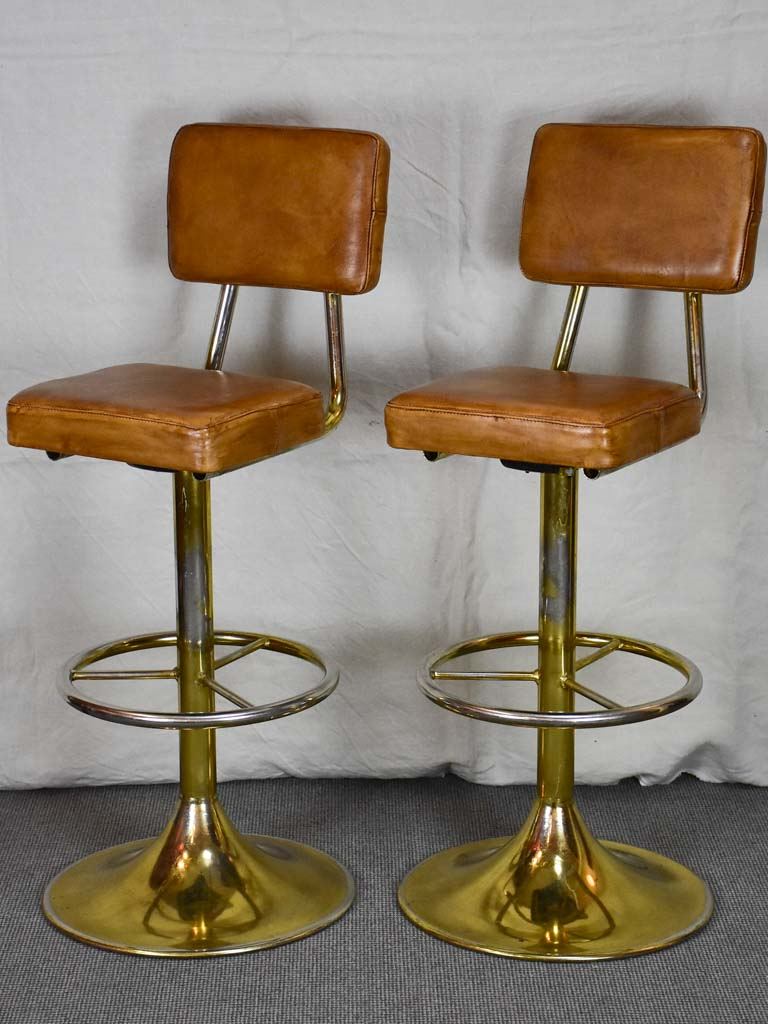 Three mid century barstools - French, leather