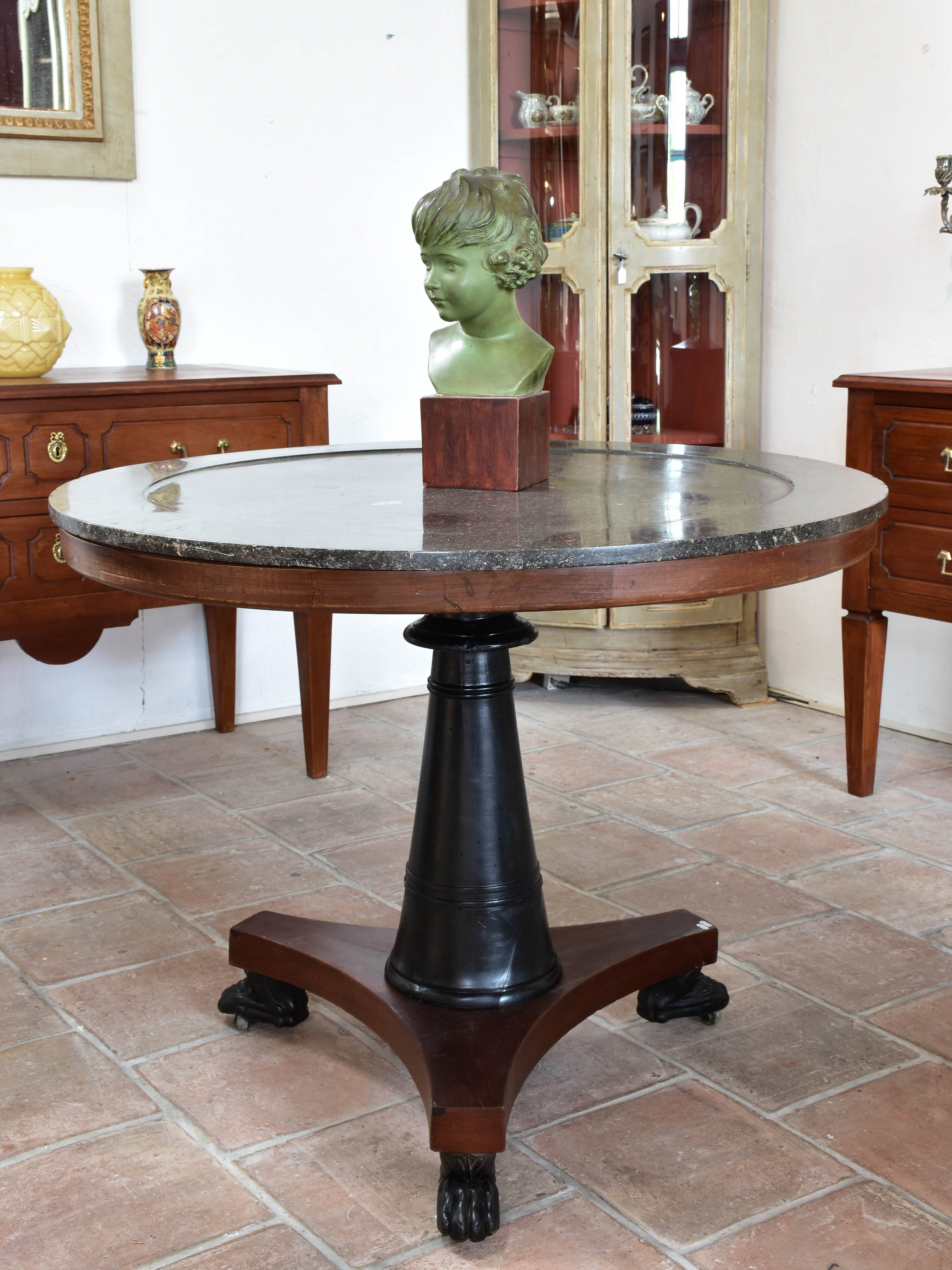 Round French Empire marble and mahogany table
