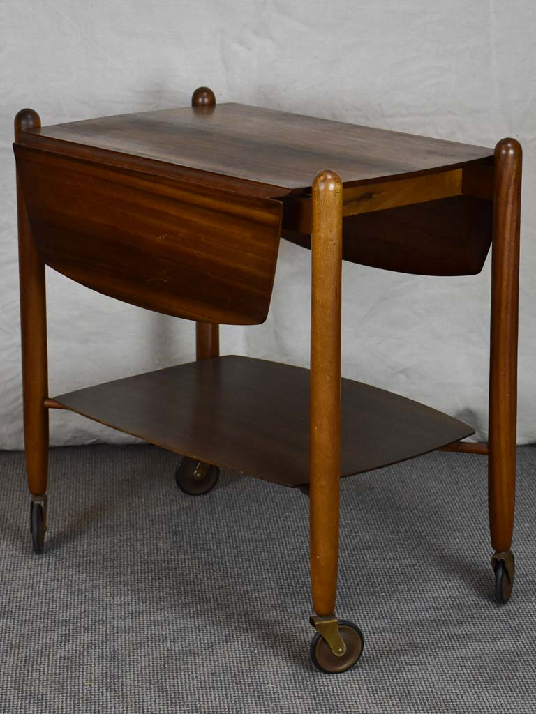 Mid century Vanson Scandinavian drop leaf rosewood table on wheels
