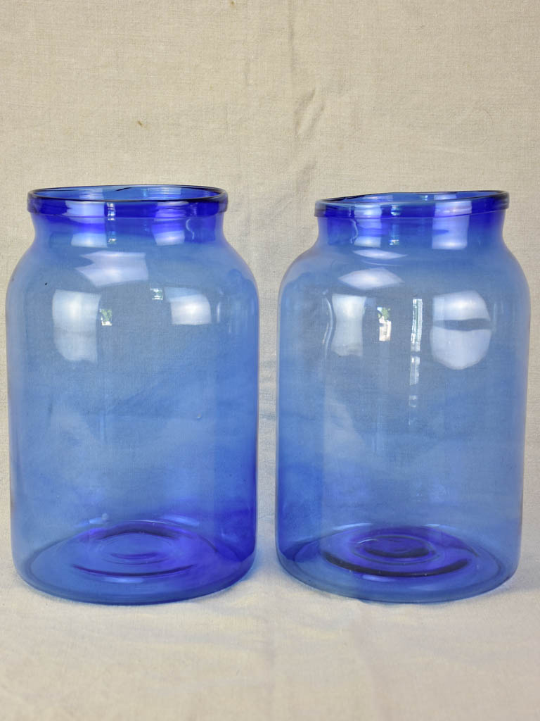Pair of vintage blown glass jars - periwinkle blue 13½""