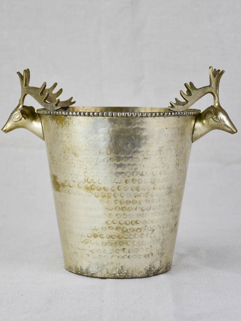 Mid century French ice bucket with moose head handles