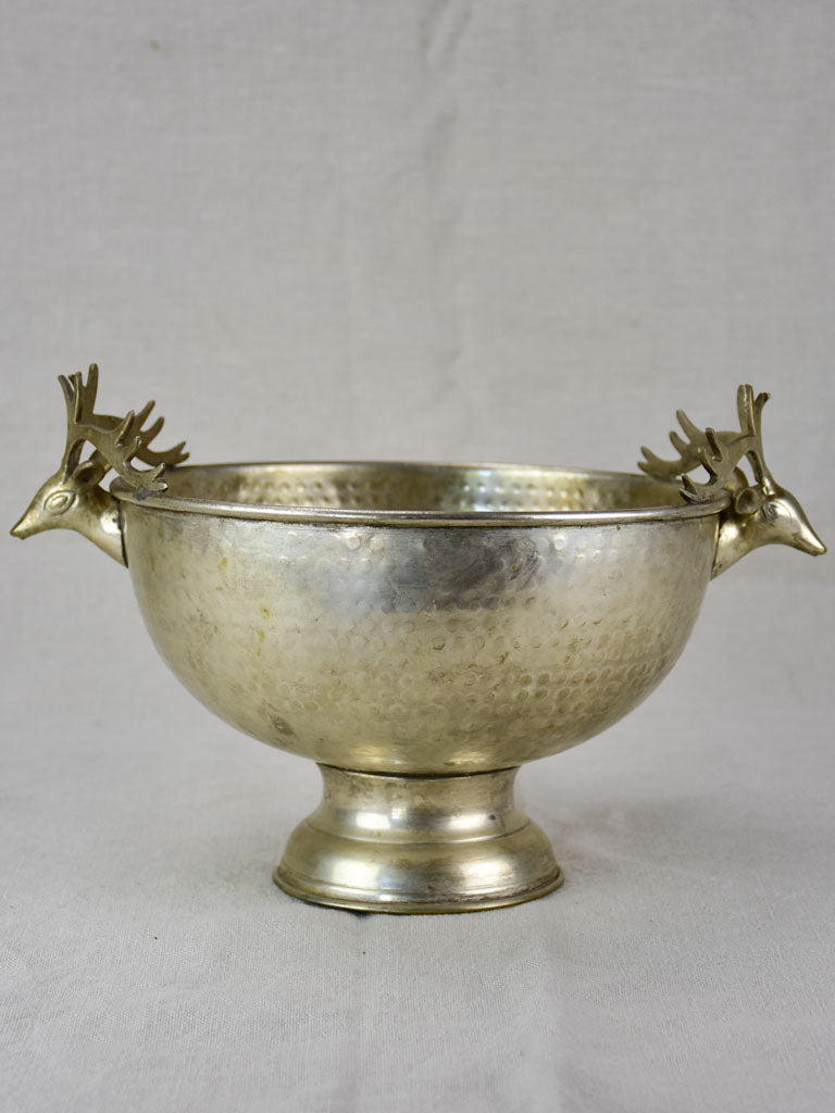 Mid century French champagne bucket with moose head handles