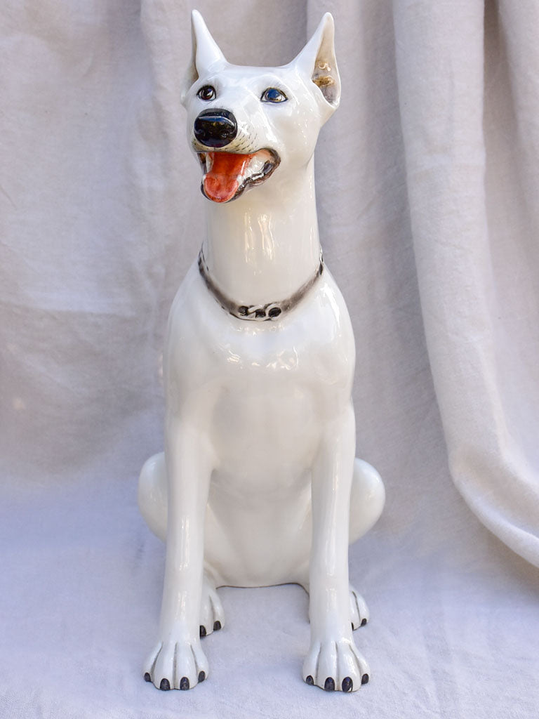 Mid century sculpture of a white dog 22½""