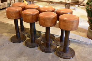 Vintage French leather barstools