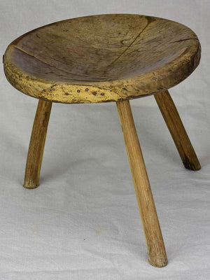 Antique French primitive milking stool with repairs