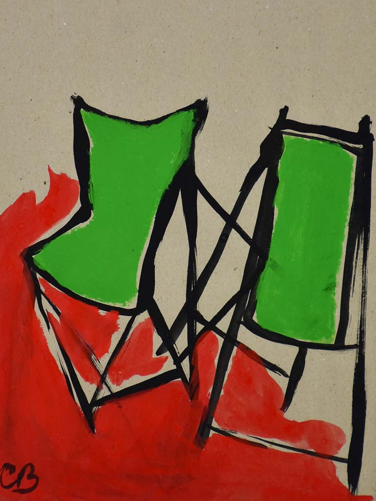 "Chiliennes green and red - Caroline Beauzon 15"" x 10¾"""