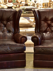 Pair of 1950's leather wingback armchairs