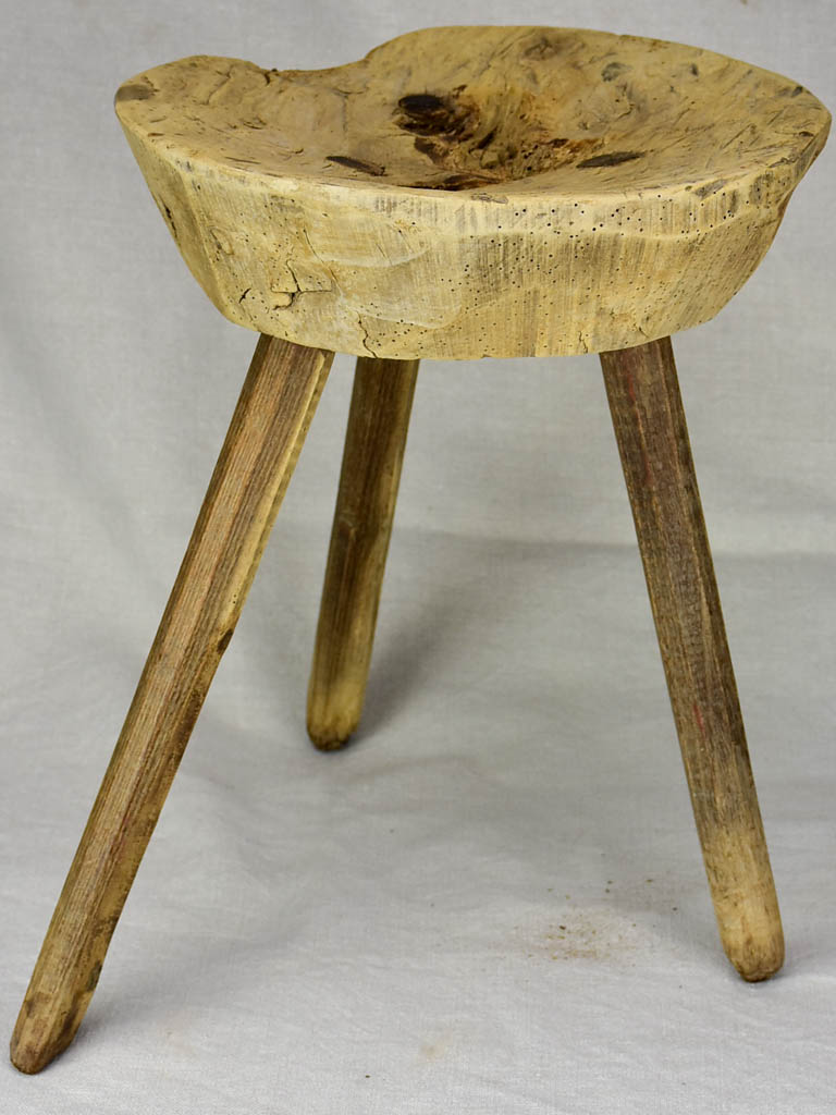 Antique French primitive milking stool - chestnut